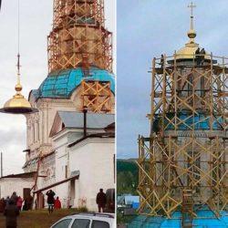Установка золотого купола и креста в церкви Рождества Пресвятой Богородицы